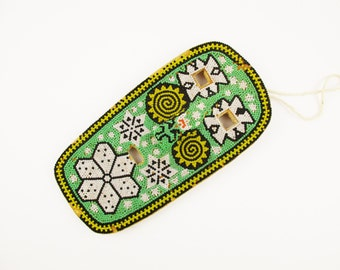 All Bead Mask With Wood Back - String to Hang - Seafoam Green, White, Black, Yellow and Orange - Decorative Mask - Geometric Pattern