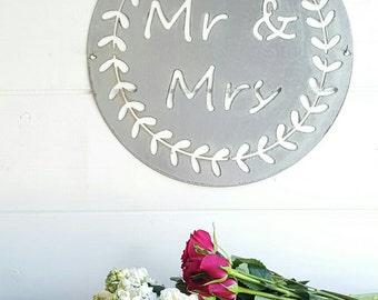 15 inch Laurel Wreath Mr & Mrs