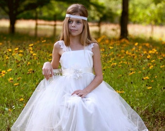 Satin, lace and tulle flower girl or first communion dress....custom made for you.