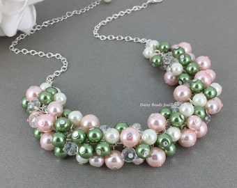 Pink and Olive Pearl Necklace, Chunky Necklace, Green and Pink Necklace, Pearl Jewelry, Olivie Green Necklace, Blush Wedding