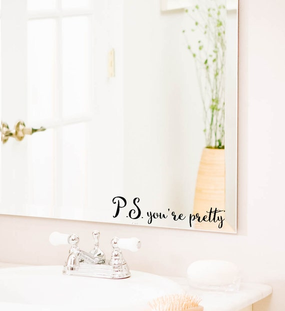 Pretty Bathroom Wall Decor : P s you re pretty bathroom wall decal