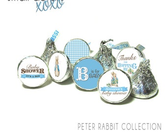 PETER RABBIT baby shower kiss stickers - Beatrix Potter kiss stickers ~ for Hershey's Kisses® Chocolate (108 stickers)