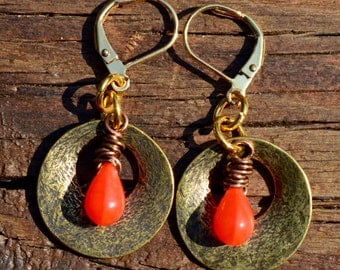 Antiqued Gold and Coral Czech Glass Tear Drops Earrings