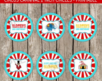 Vintage Carnival Cupcake Toppers Party Circles - Red & Blue - Carnival Circus Birthday Party - DIY Printable