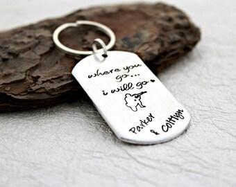 Marine Wife Keychain - Army Wife Keychain - Marine Girlfriend Keychain - Army Girlfriend Gift - USMC Keychain - PCS Gift - Moving Gift