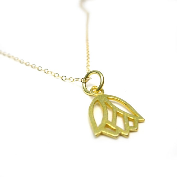 Gold Lotus Necklace, Lotus Pendant, Delicate Lotus, Dainty Lotus, Vermeil Lotus, Small Lotus, 14k Gold Fill Chain, Dainty Chain, Thin Gold