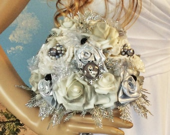 "Bridal-Winter Wedding Bouquet-Brides Bouquet-Brooch Bouquet-Disney Bouquet ""Olaf""-FROZEN-Wedding Flower Bouquet-Wedding Flowers-Silver&White"