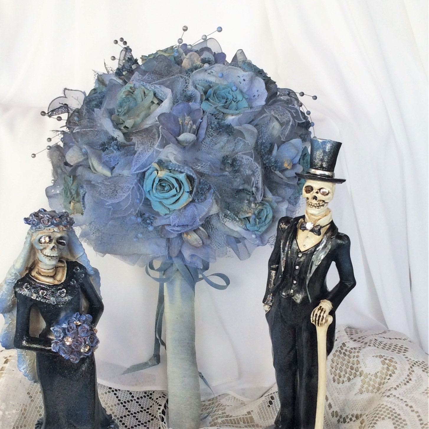 tim burton u0027s corpse bride wedding flower bouquet gray blue