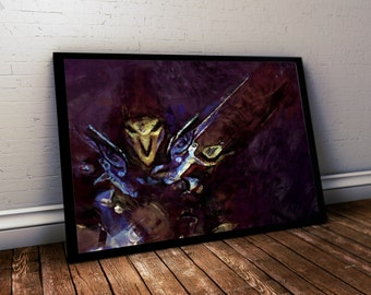 Overwatch Poster. Overwatch Reaper Painting Print. Mounted Canvas available on request details in listing