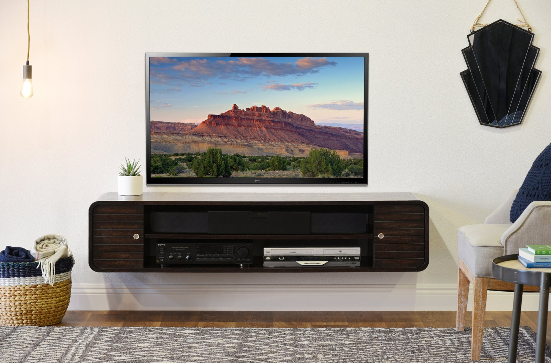 rounded curved floating tv stand radius espresso. Black Bedroom Furniture Sets. Home Design Ideas
