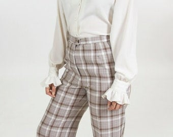 High Waisted 70s Plaid Pants Women's Vintage Brown and White Bell Bottom Trousers 27 x 30.5 31