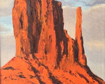 Monument Valley landscape original plein air oil painting 8x16 framed