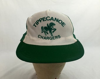 Vintage 70s - 80s Tippecanoe Chargers Snap-Back Hat // Snapback // Retro // Baseball Cap // Trucker // Paper Thin // Totally Unstructured