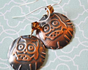 Owl copper earrings with brown Swarovski crystals, metal earrings, rustic earrings, artisan earrings