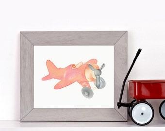 ORIGINAL watercolor toy plane, nursery decor, kids room, NOT A PRINT!