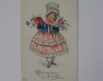 Christmas Artist Signed Post Card - Hannes Petersen - Happy Christmas - Used - 1928