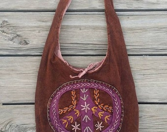 Peace Sign Embroidered Messenger Bag