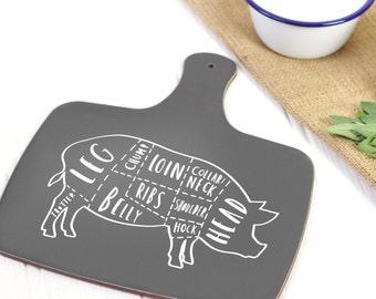 Pork Butcher board - charcoal - hand lettered pig butcher cuts board - CB05