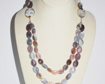 Natural Gemstone Necklace - African Botswana Agate and Sterling Silver - S2349