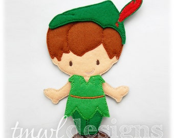 Vintage Peter Pan Felt Paper Doll Toy Outfit Digital Design File - 5x7