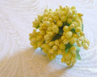 Yellow Stamen Cluster Bundle with Leaves Sugar Bumpy Peps Pips for Floral Crowns Dolls Crafts Millinery Craft Supply