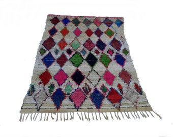 "89""X55"" Vintage Moroccan rug woven by hand from scraps of fabric / boucherouite / boucherouette"