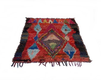"79""X71"" Vintage Moroccan rug woven by hand from scraps of fabric / boucherouite / boucherouette"