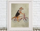 German Shepherd Print, shepherd Illustration Art Poster Acrylic Painting Kids Decor Drawing Gift, Dog on bicycle, bicycle print