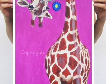 Giraffe with flower Print Wall Decor Bird Acrylic Painting, printed version of original painting of Coco de Paris, giraffe art, animal print