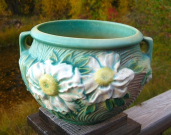 Roseville Pottery Peony Jardiniere, Large Size, Cottage Chic, Circa 1940s