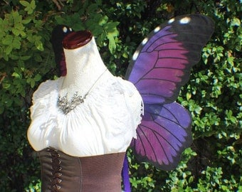 Hand painted Purple Morpho butterfly inspired wings