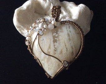Heart Pendant, SNOW WHITE, Outstanding  Ochoco Tube Agate, Wire Wrapped, Bronze, Pearls, Moonstone, Crystals, Stone Heart, Optional Chain