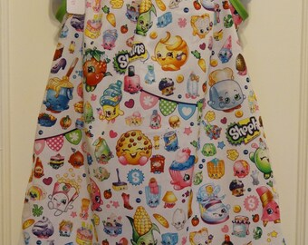 Shopkins All Over Girls  Pillowcase Dress, Made to Order Sizes 6 months, 9 months, 12-18 months, 18-24 months, and Size 2 to 8