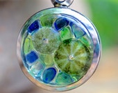 Sea Urchin Necklace - REAL Shells and Sea Glass/Blue Green Glass/Mosaic/2 Sided/Beach Jewelry/Pendant/Ocean Lover Gift/Handmade/Lost Coast