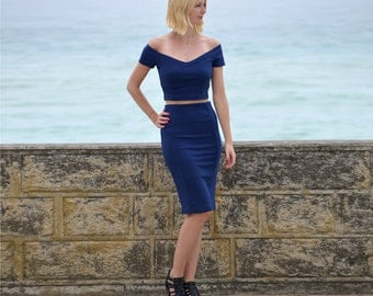 Audrey Womens Pencil Skirt with Matching Crop Top in Navy Blue. Two Piece Set with Off Shoulder Top and High Waist Midi Skirt