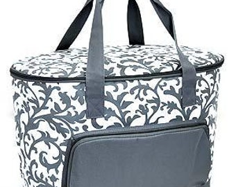 Monogram Large Cooler Bag Gray Floral Personalized Insulated Tote