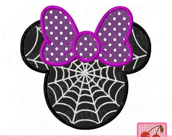 "Halloween Minnie with spider web Machine Embroidery applique - 4x4 5x5 6x6"""