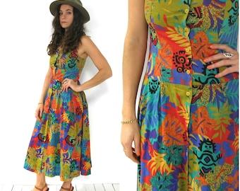 SALE- 1980's jungle patterned cotton maxi dress