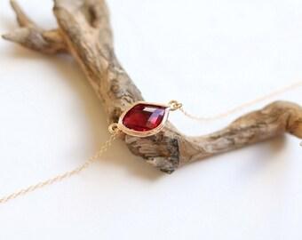 Ruby Bracelet - Charm Bracelet - Gemstone Bracelet - Gold Bracelet - Stone Bracelet - Arm Candy - Ruby Quartz Bracelet - Stacking Bracelet