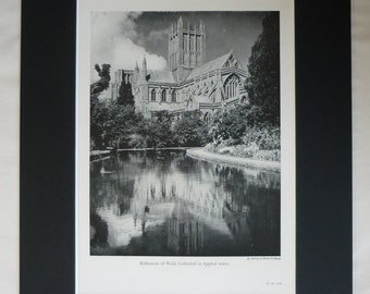 1950s Vintage Print of Wells Cathedral, Available Framed, Somerset Art, Anglican Gift, Church of England Decor, Water Reflection Wall Art