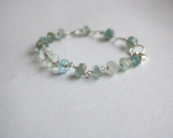 Aquamarine Bracelet, Beaded Chain, Sterling Silver, Wire Wrapping, Shaded Aquamarine, Interesting Chain, March Birthstone