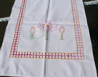 Pink Flower Embroidered Table Runner / Scarf