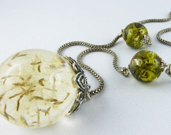 Necklace, Collier, Resin, dandelion, Lariat