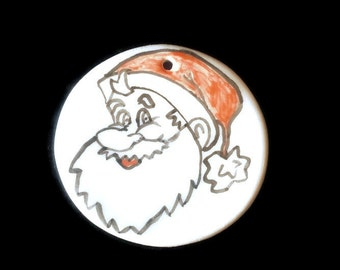 Christmas tags, ceramic Christmas tag, Santa tags, indvidual tags, hand painted tags, clay christmas tags, handmade tag, round christmas tag