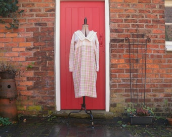 1920s day dress / 20s cotton dress / pink and green plaid dress with oversized lapel collar and ruffles / flapper style