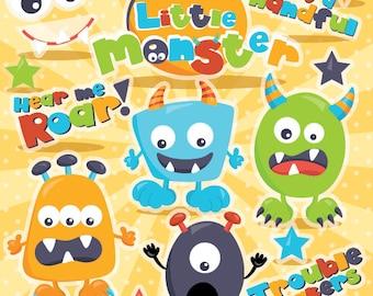Monster clipart commercial use, monsters vector graphics, monster paper dolldigital clip art, digital images - CL977