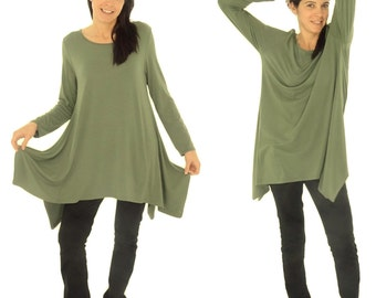 HU500GN tunic layered look asymmetrical Gr. 38-44 Green