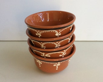 Set of 4 Brown Pottery Bowls from Portugal