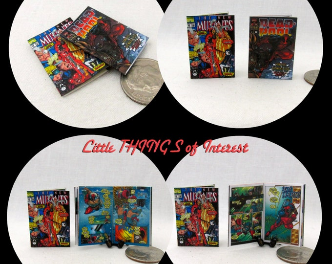 2 DEADPOOL COMIC Books Miniature Books Dollhouse 1:12 Scale