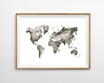 World Map - Watercolor Map - Prints - Nursery Decor - Art Prints - Handpainted Map - Modern Wall Art - Travel Gift - Christmas Gifts for Her